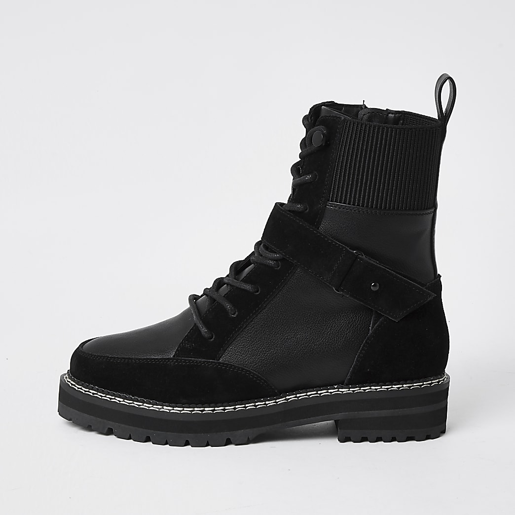 Black lace up suede hiker boots