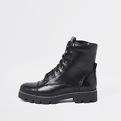 Black lace up tab contrast stich boots