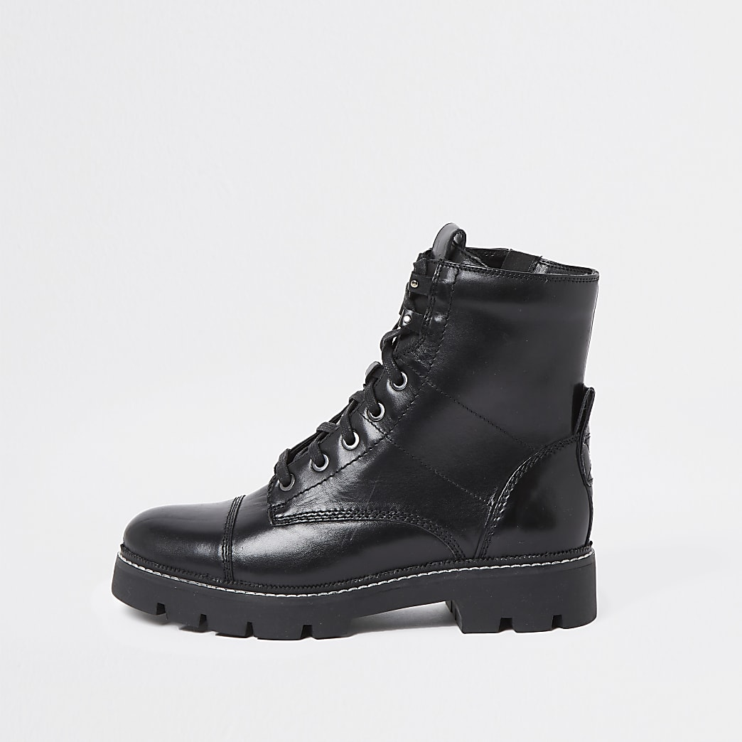 Black lace up tab contrast stitch boots