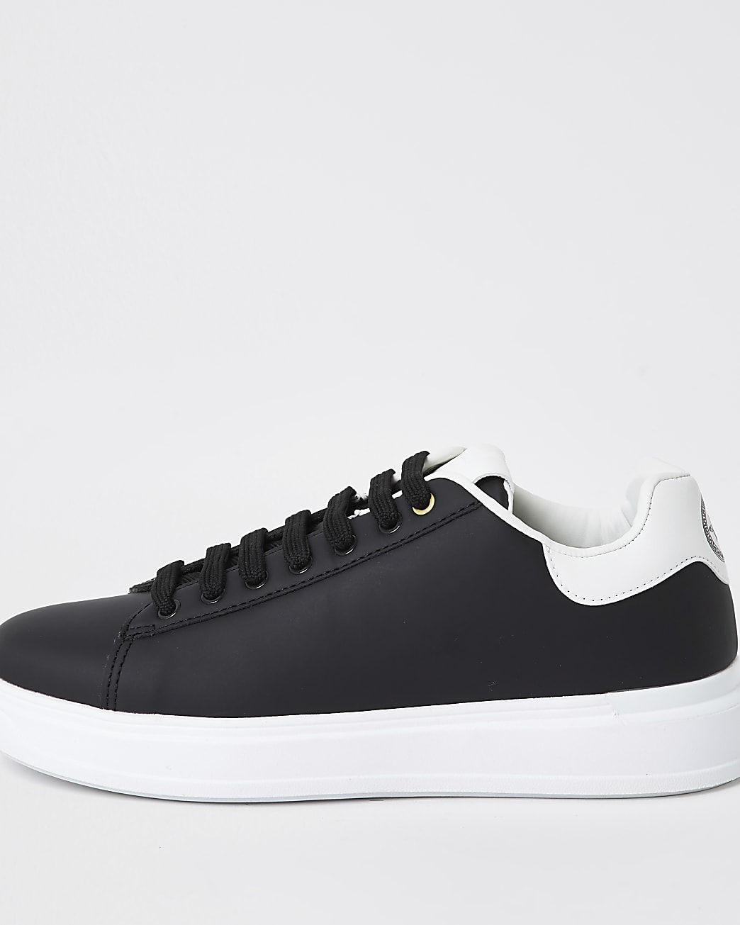 Black lace-up wedge sole trainers