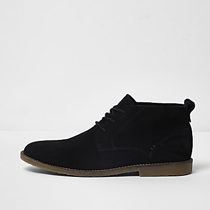 Black lace-up wide fit chukka boots