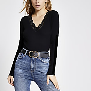 Black lace V neck long sleeve fitted top