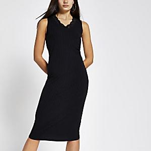 Black lace V neck ribbed midi dress