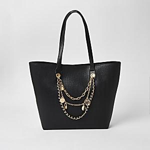 Black layered chain embellished shopper bag