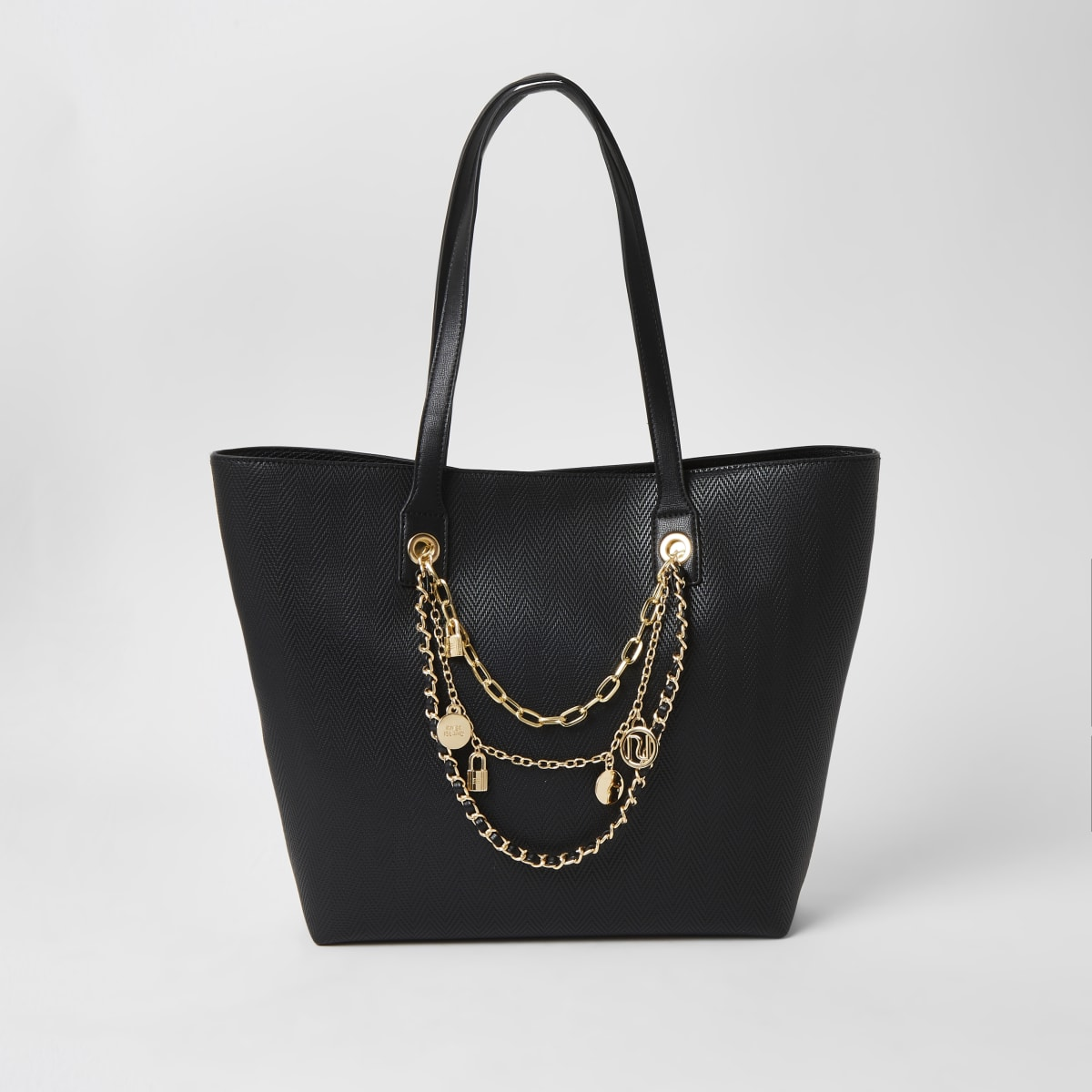 Black layered chain embellished shopper bag