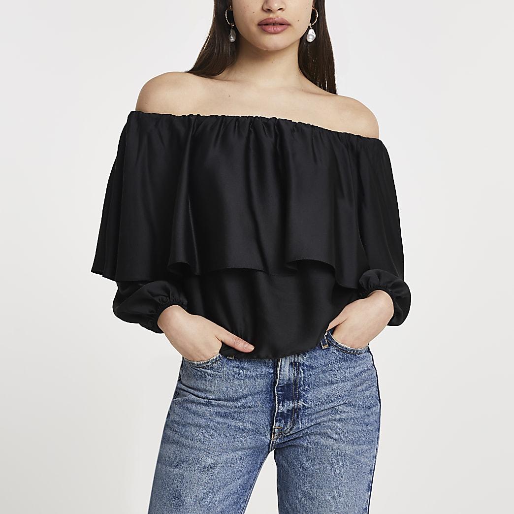 Black layered frill bardot top