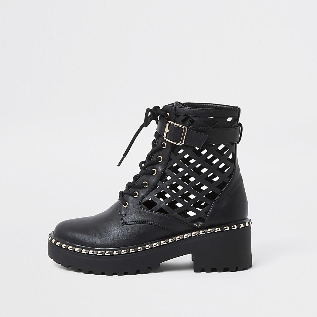 Black lazer cut ankle boot