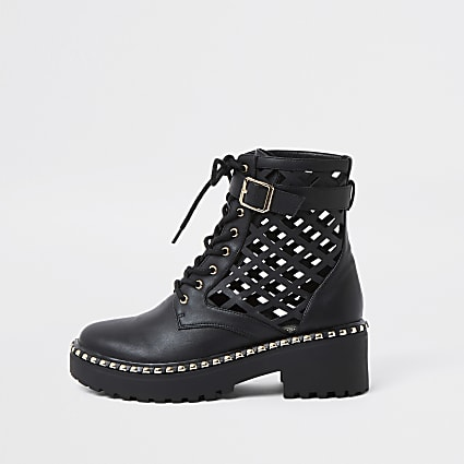 Black lazer cut ankle boots