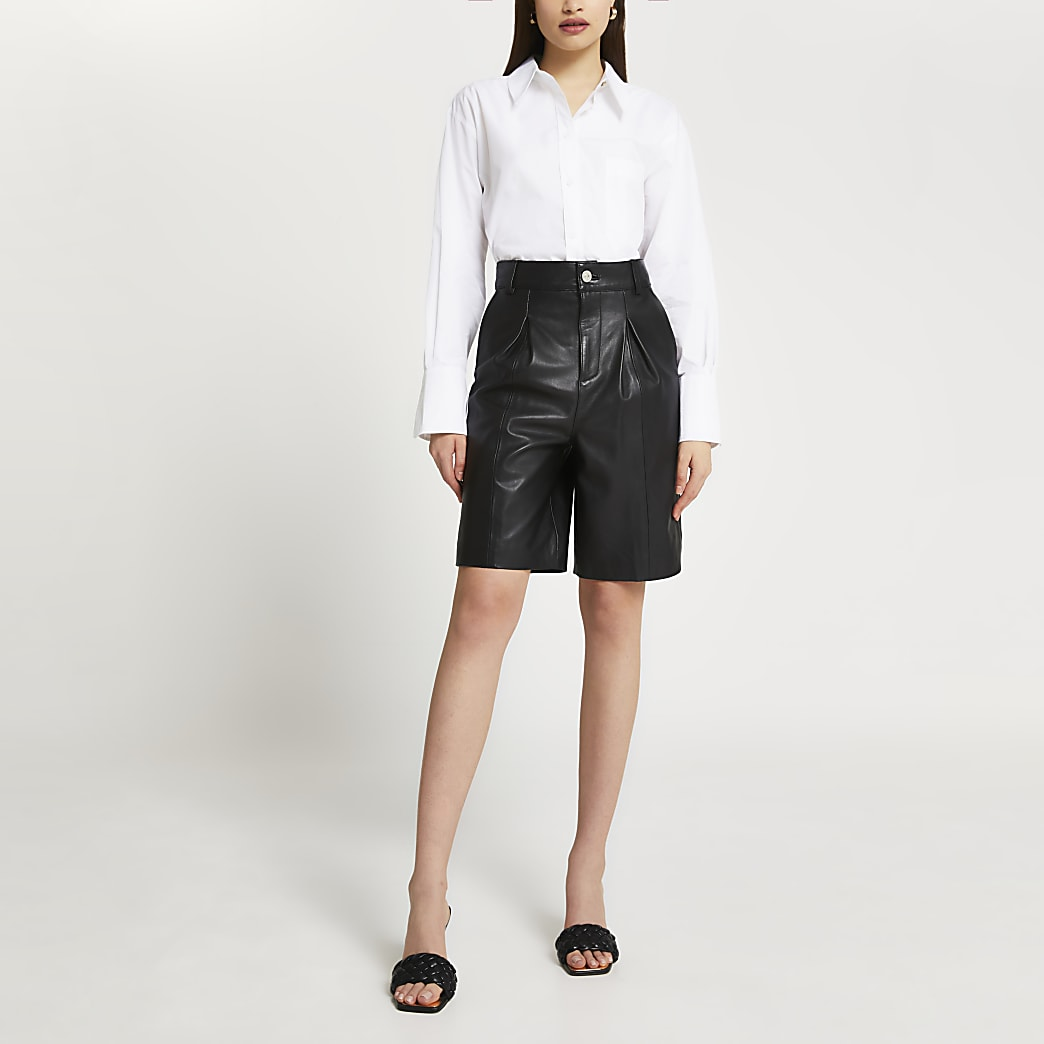 Black leather bermuda shorts