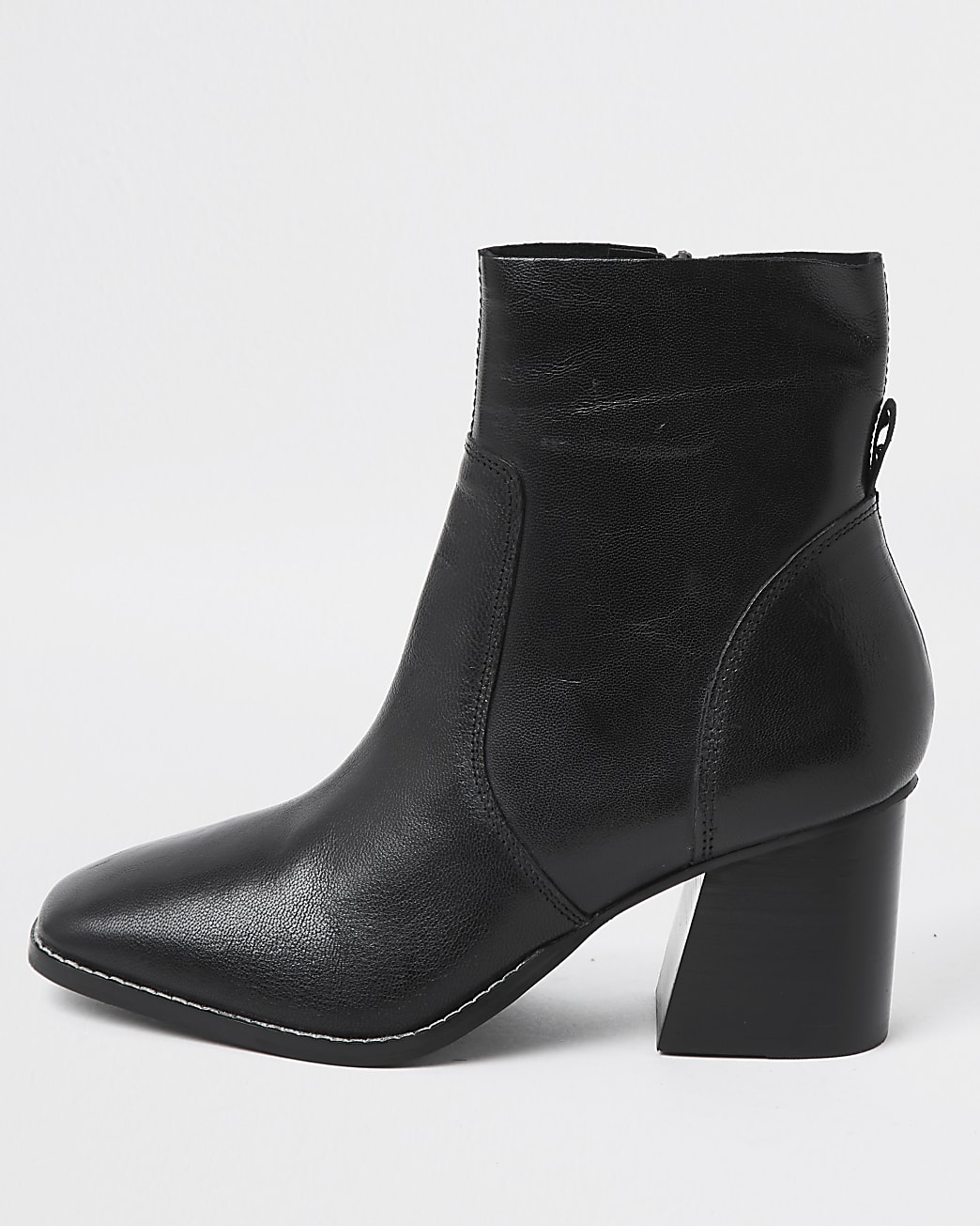 Black leather block heel ankle boot