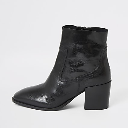 Black leather block heel wide fit boots
