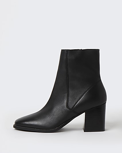 Black leather block heeled boots