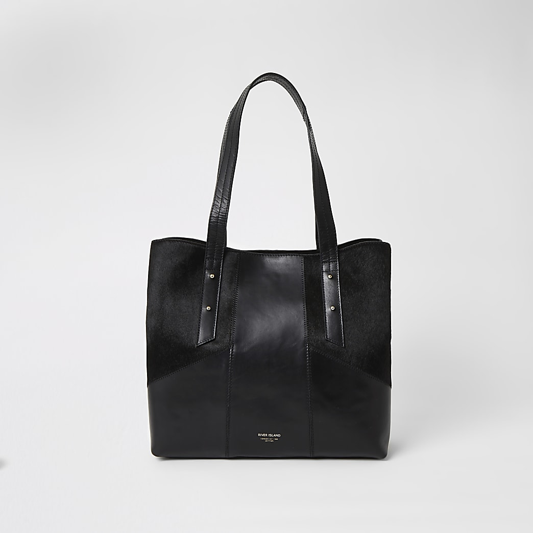Black leather blocked tote bag