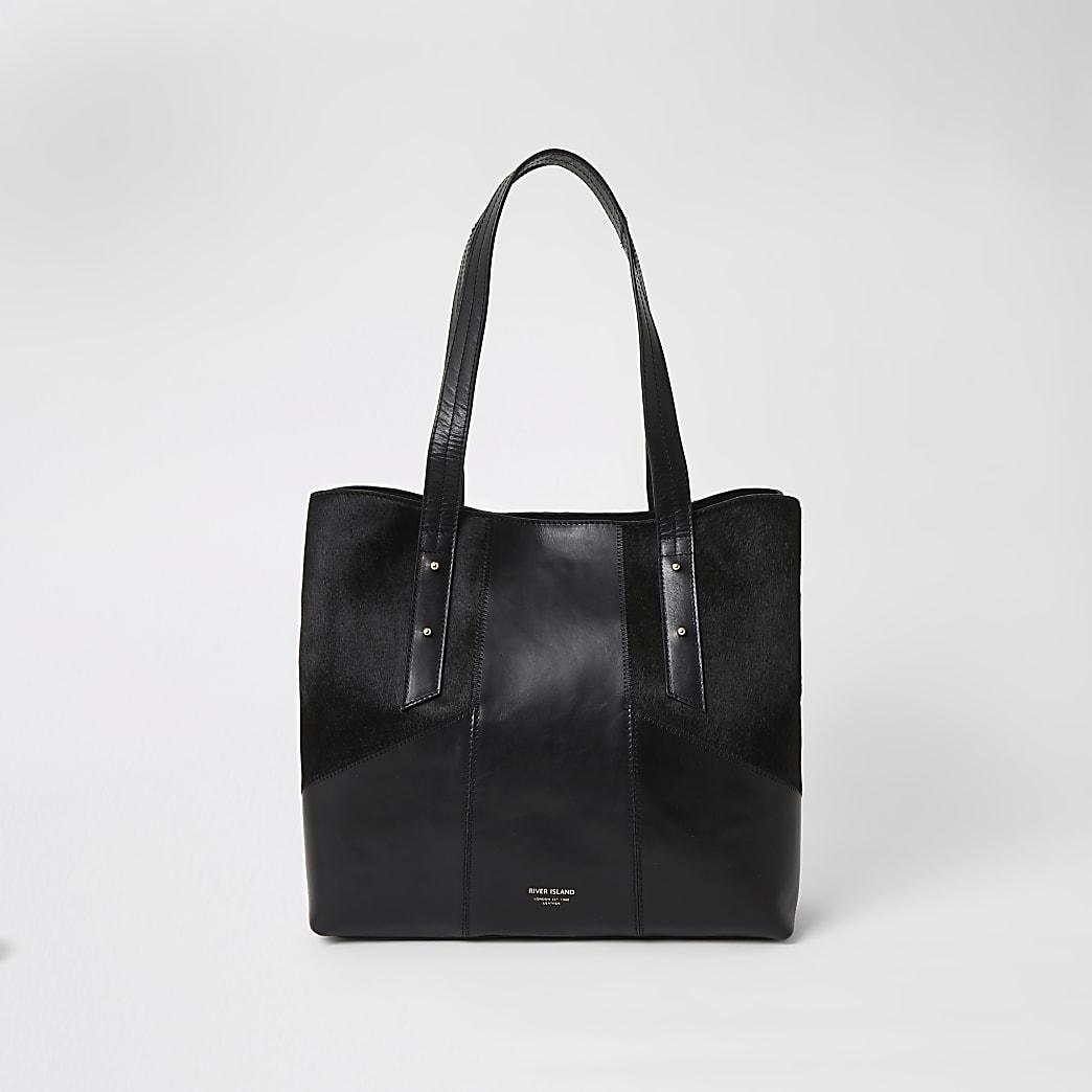 Schwarze Tote Bag aus Leder in Blockfarben