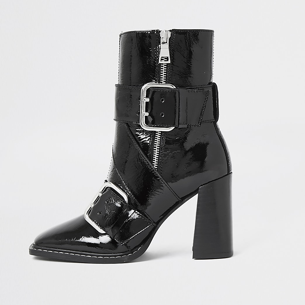 Black leather buckle square toe boots