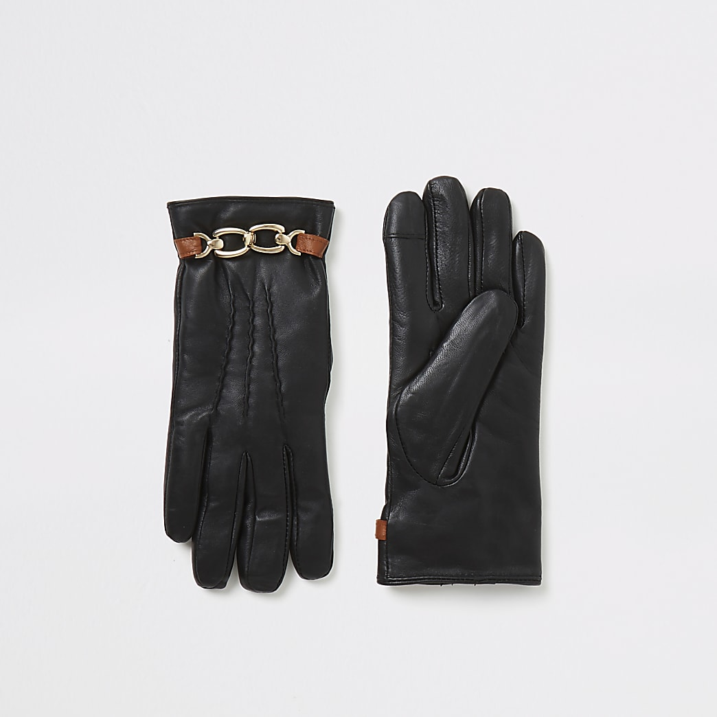 Black leather chain embellished boxed gloves