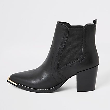 Black leather chelsea heeled ankle boots
