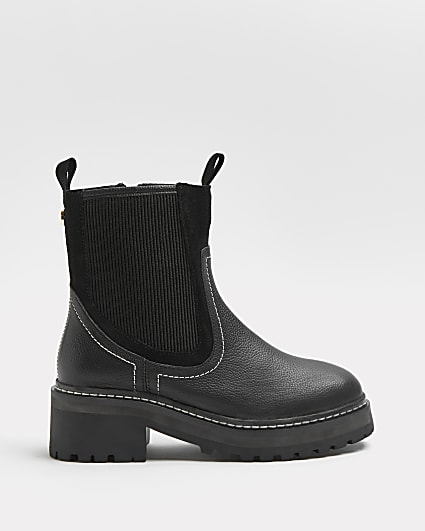 Black leather chunky ankle boots