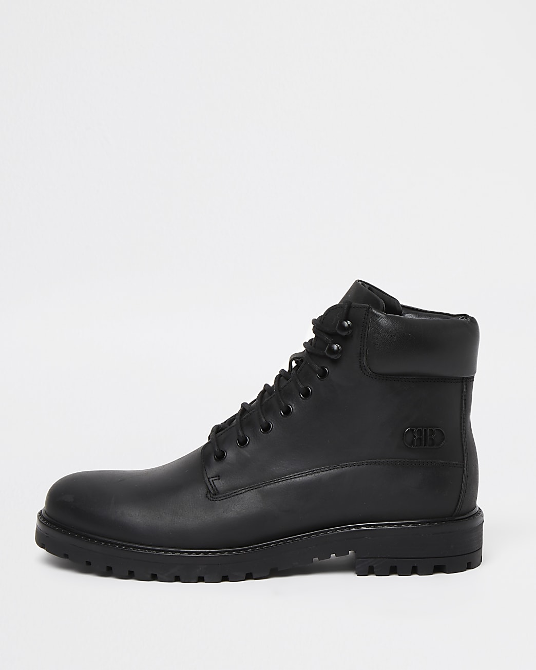 Black leather chunky lace up worker boots