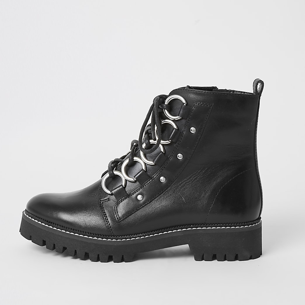 Black leather chunky wide fit boots