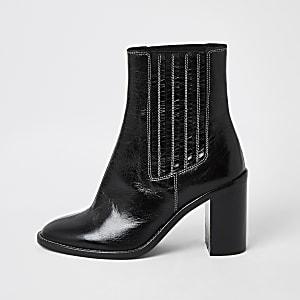 Zwarte leren gusset laarzen met contrasterend stiksel
