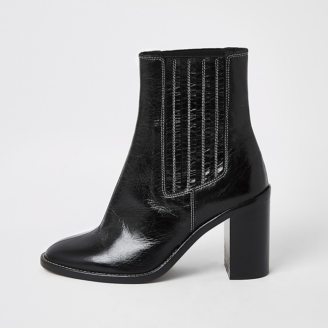 Black leather constrast stitch gusset boots