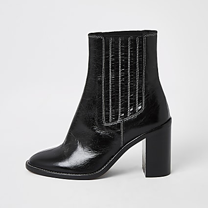 Black leather contrast stitch ankle boots