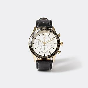 Armbanduhr mit Lederarmband in Schwarz
