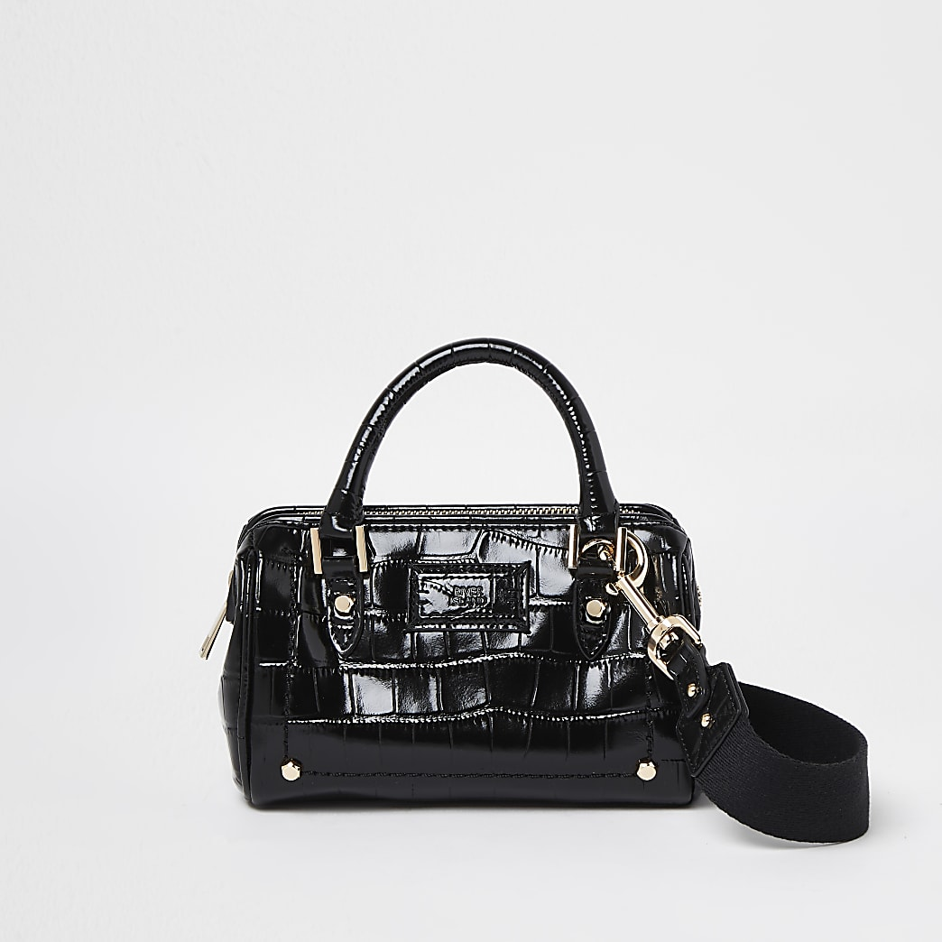 Black leather croc design bag