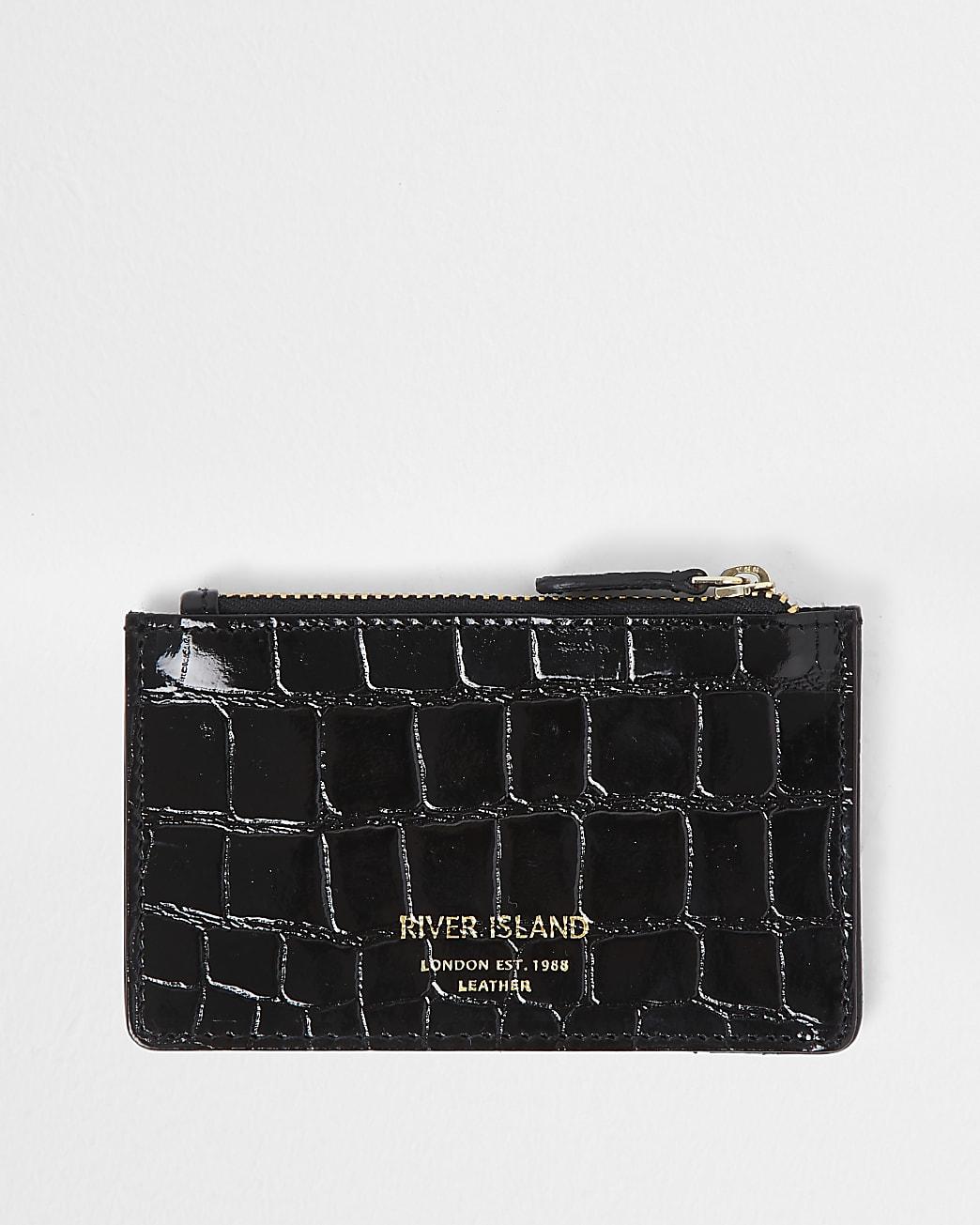 Black leather croc embossed card holder purse