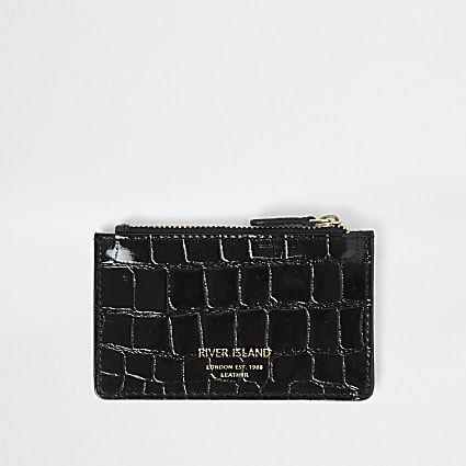 Black leather croc embossed card holder purse
