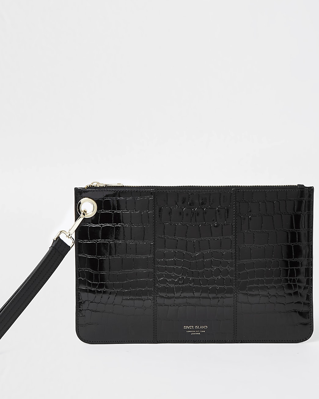 Black leather croc embossed clutch handbag