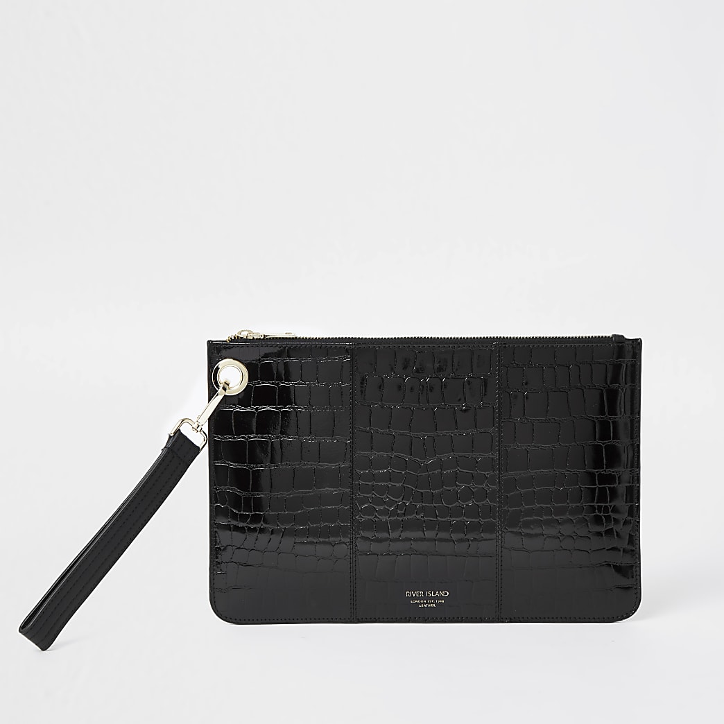 Black leather croc embossed clutch handbag