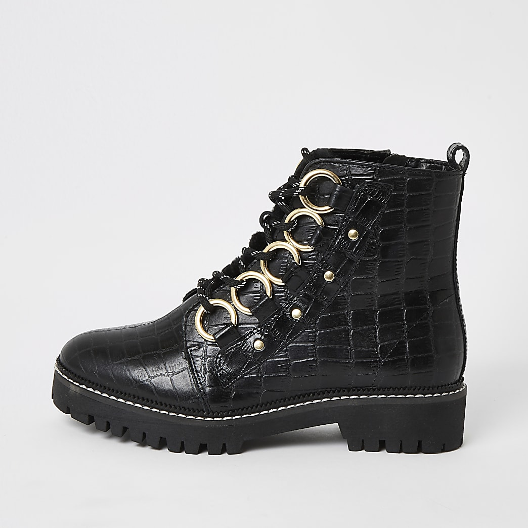 Black leather croc embossed wide fit boots