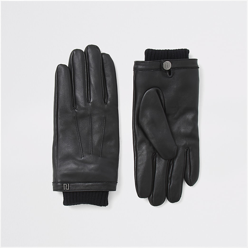 Black leather cuffed gloves