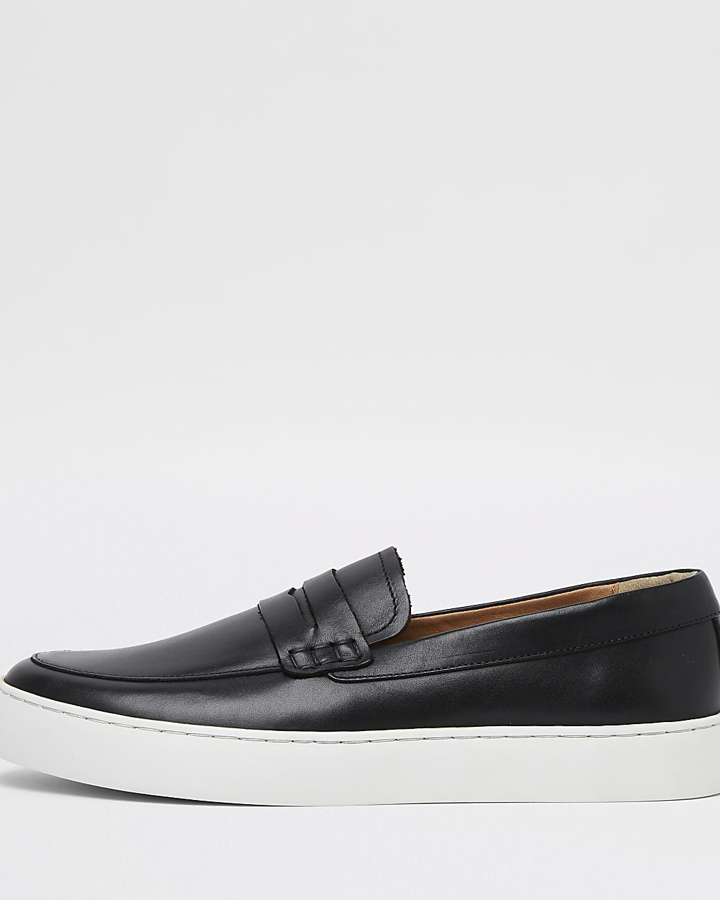 Black leather cupsole loafer