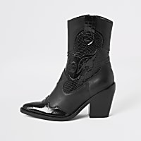 Black leather cutout cowboy ankle boots