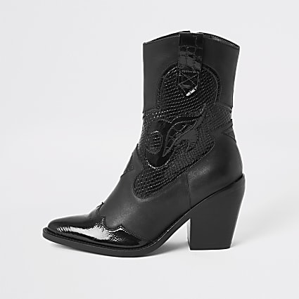 Black leather cutout cowboy ankle boots