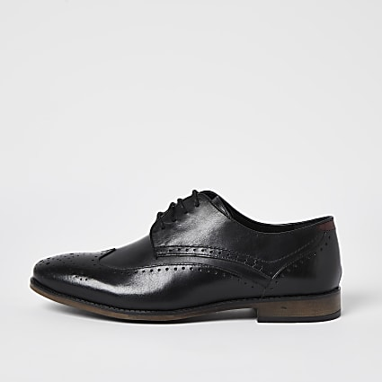 Black leather derby brogue shoes