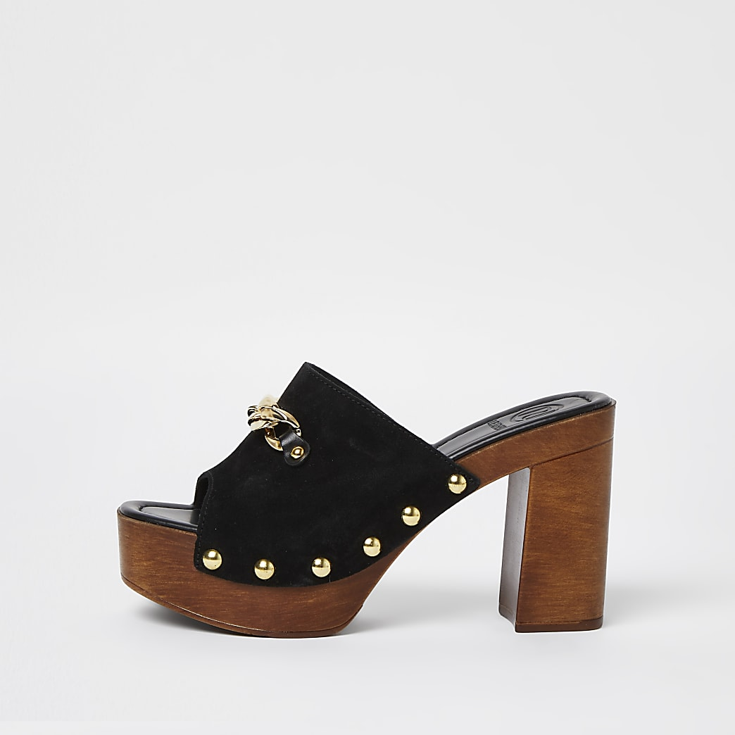 Black leather double buckle studded mules