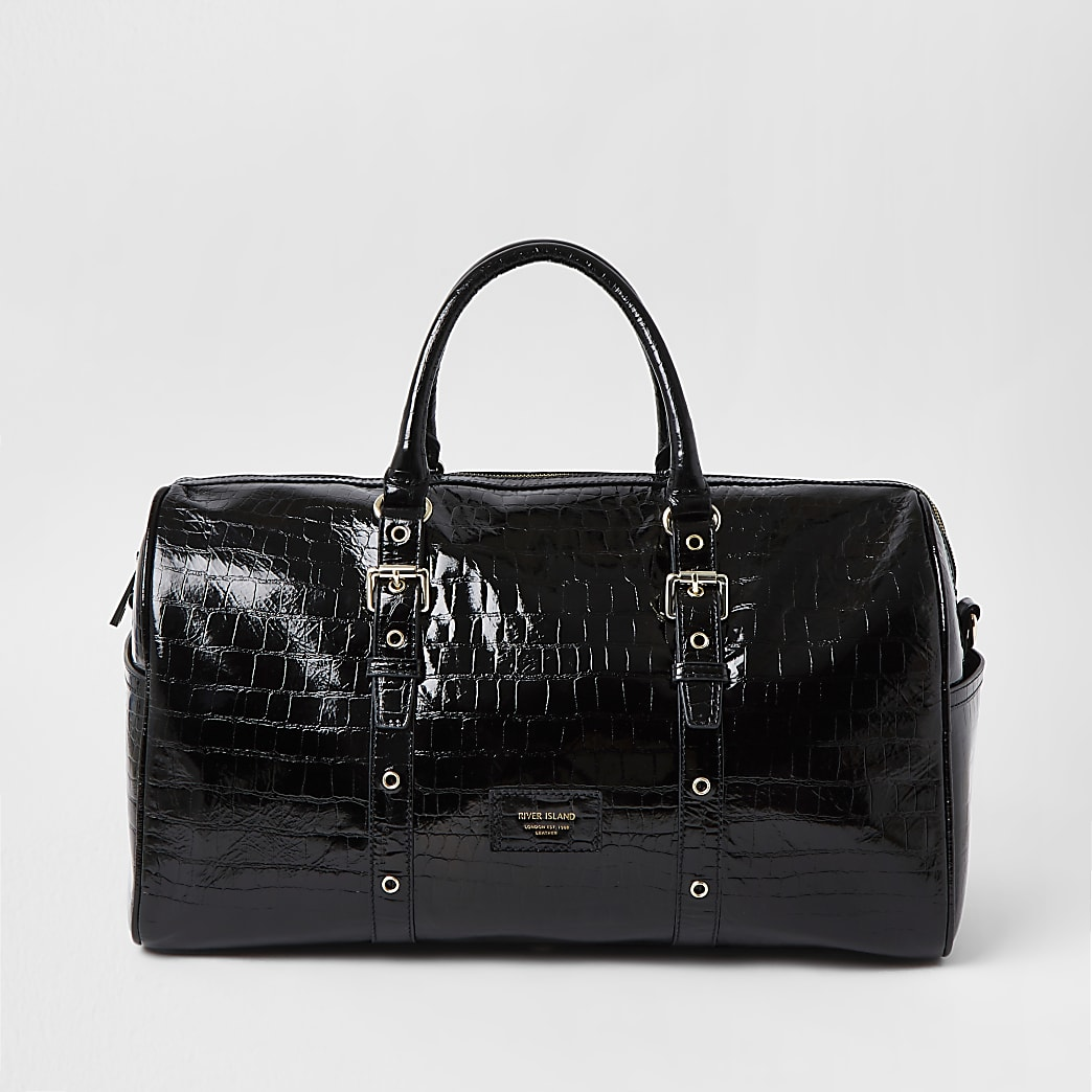 Black Leather embossed barrel bag
