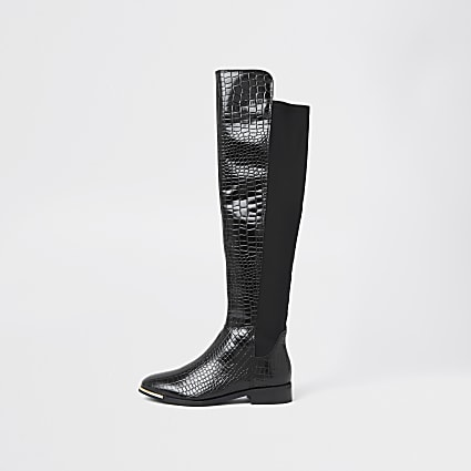 Black leather embossed knee high boots