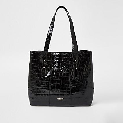 Black leather embossed tote bag