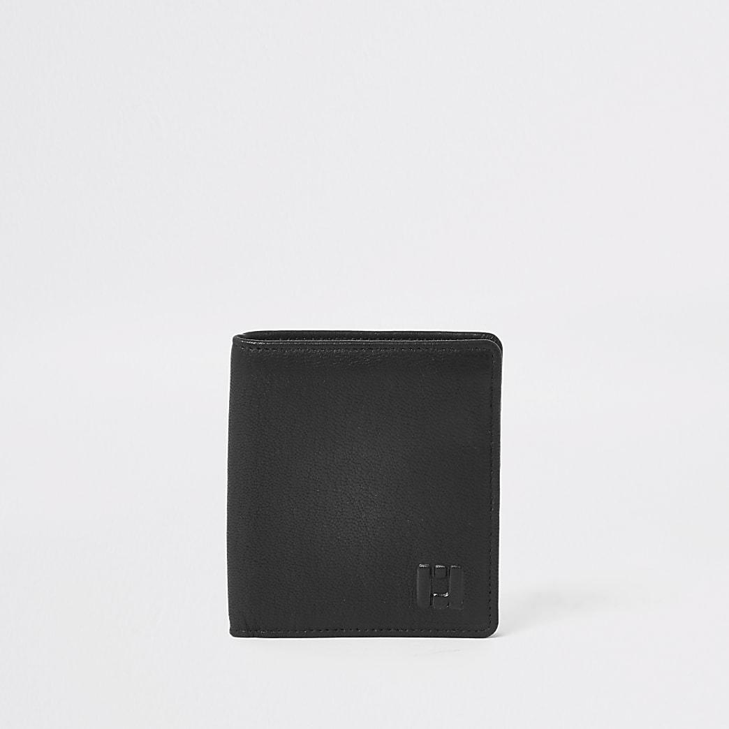 Zwarte uitklapbare leren portemonnee