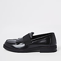 Black leather fringe loafers