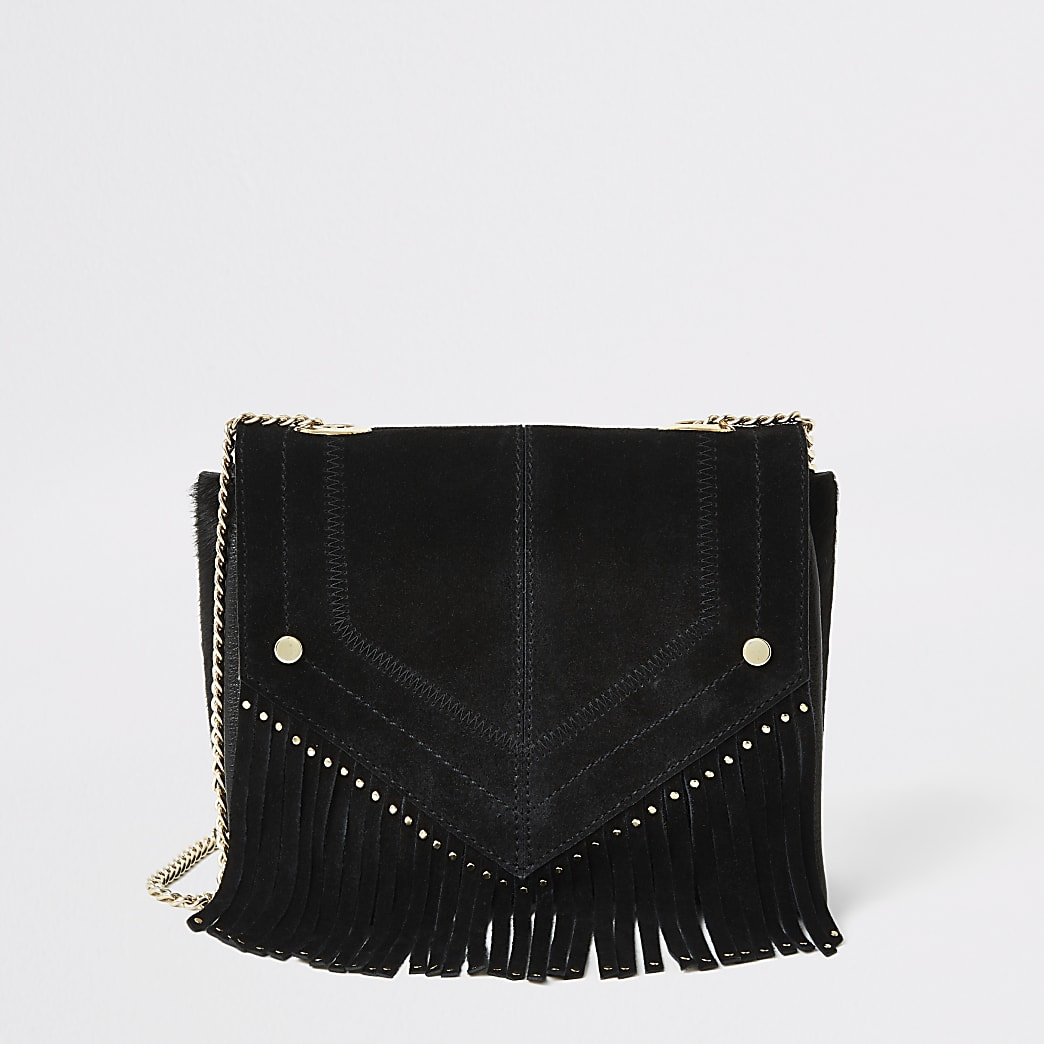 Black leather fringe studded cross body bag
