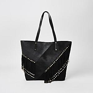 Schwarze Shopper-Tote Bag aus Leder mit Fransen und Nieten
