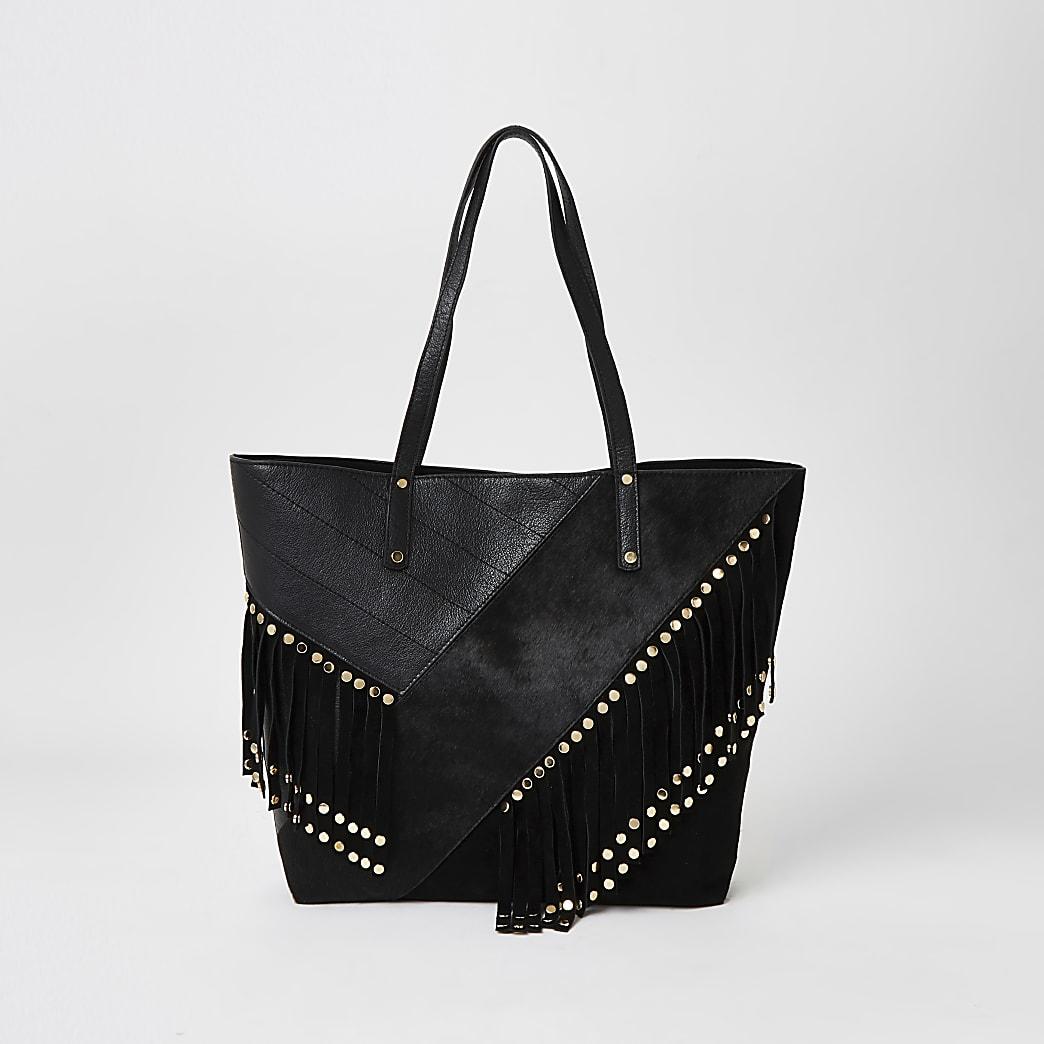 Black leather fringe studded shopper tote bag