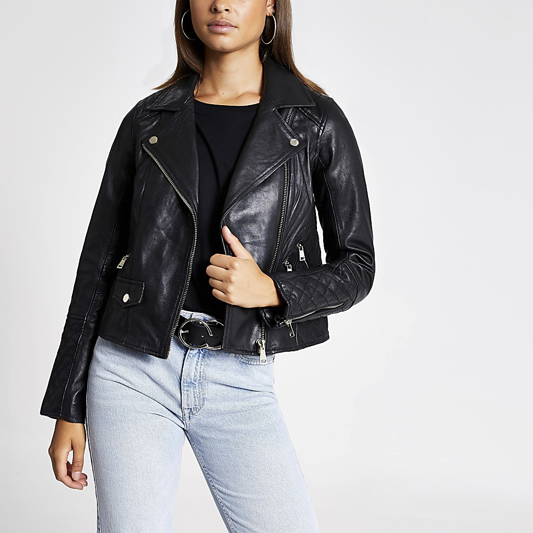 Black Leather Geller Biker Jacket