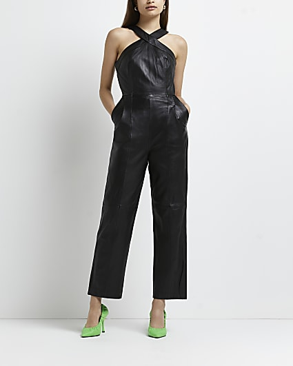 Black leather jumpsuit